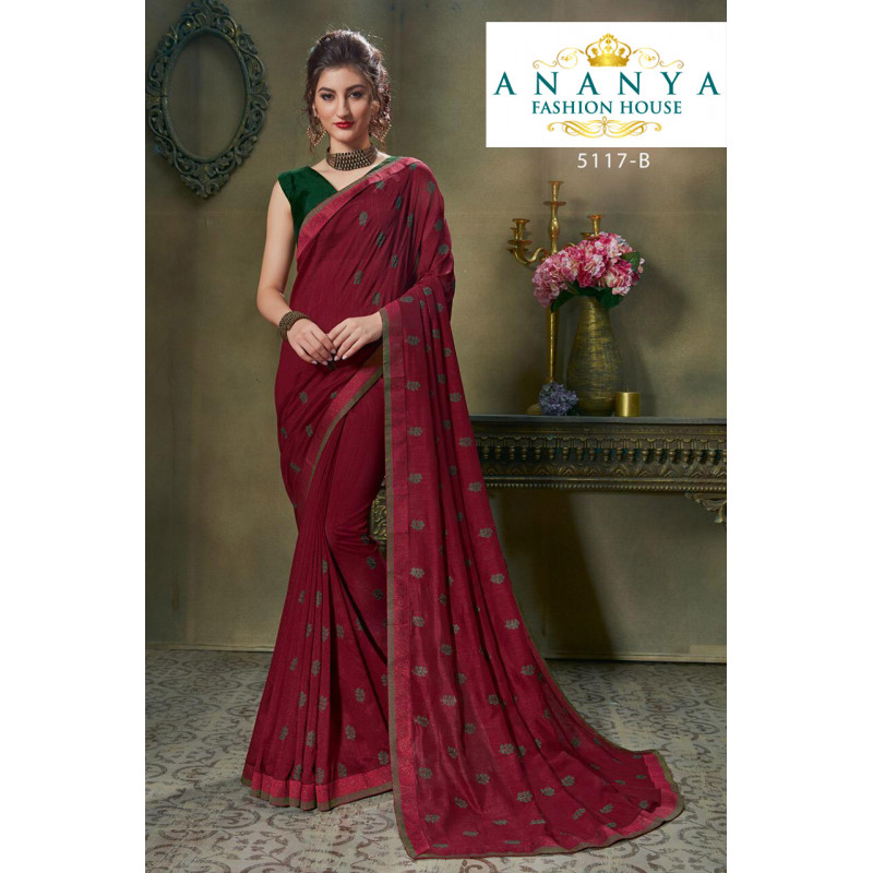 Melodic Wine Silk Saree with Bottle Green Blouse