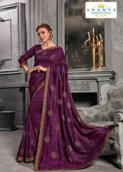 Enigmatic Purple Silk Saree with Purple Blouse