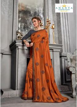Melodic Orange Silk Saree with Grey Blouse