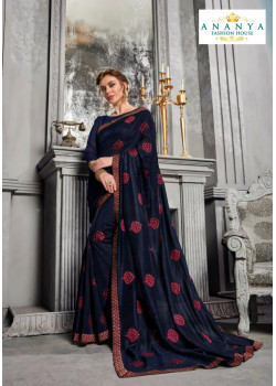 Classic Dark Blue Silk Saree with Dark Blue Blouse