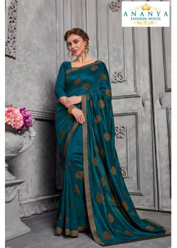 Melodic Blue Silk Saree with Blue Blouse