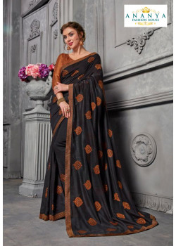 Charming Grey Silk Saree with Copper Blouse