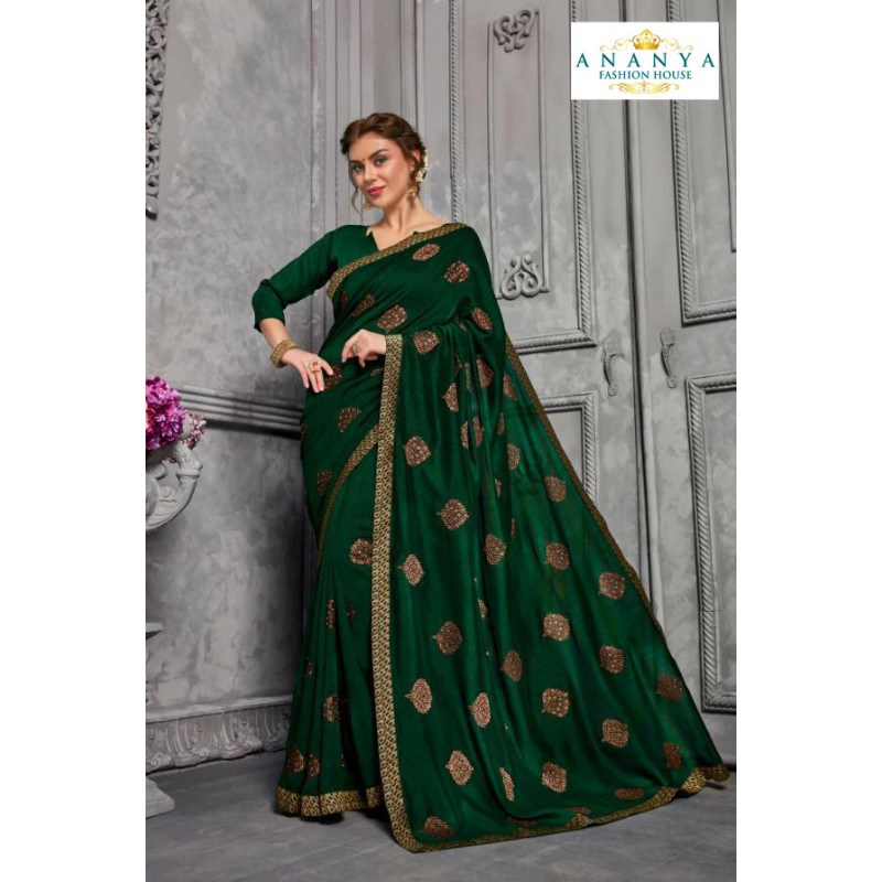 Dazzling Bottle Green Silk Saree with Bottle Green Blouse
