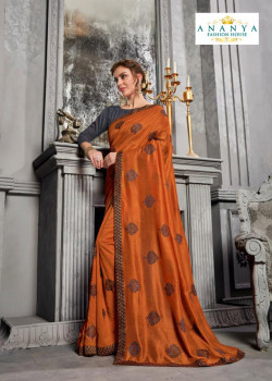 Melodic Orange Silk Saree with Grey Blouse