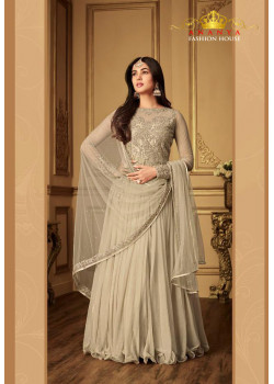 Incredible Beige Net- Pure Satin Salwar kameez