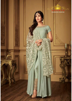 Magnificient Grey Georgette- Santoon Salwar kameez