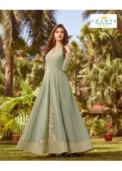 Flamboyant Grey Soft Georgette Salwar kameez