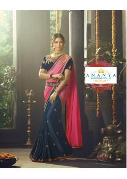 Enigmatic Dark Blue- Pink Crape- Chiffon Saree with Dark Blue Blouse