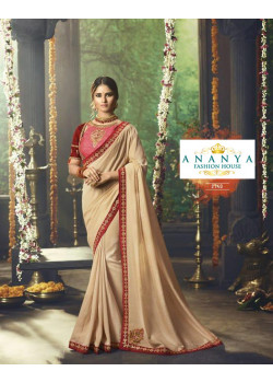 Adorable Beige Silk Saree with Pink- Red Blouse