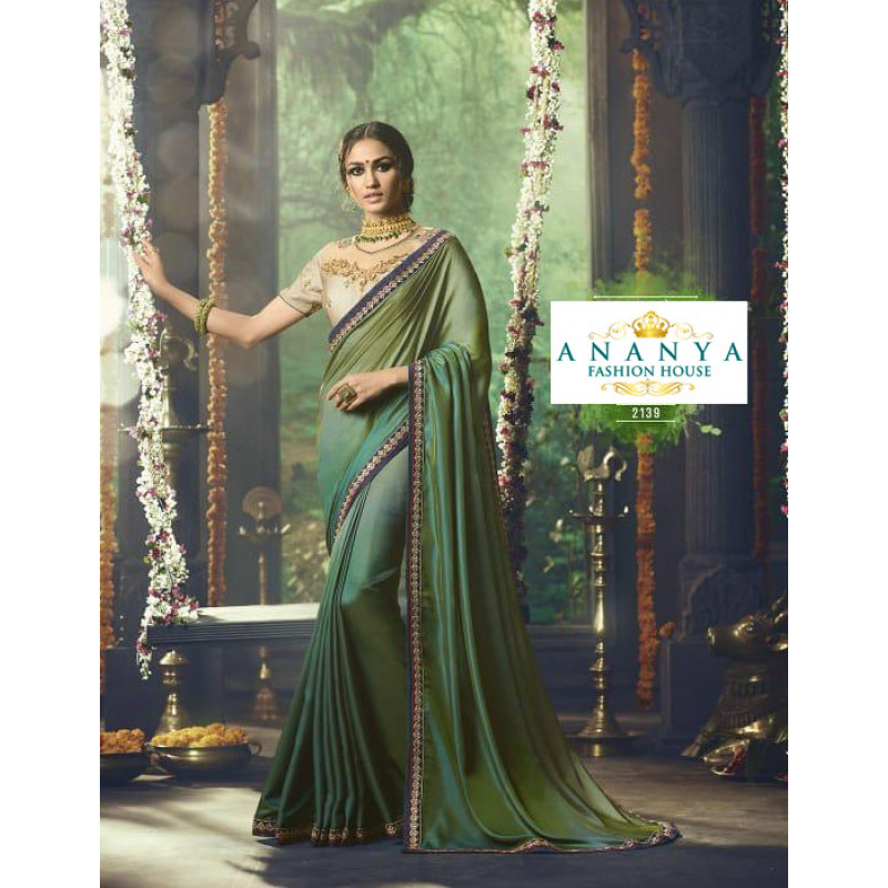 Classic Olive Green Barfi Saree with Beige Blouse