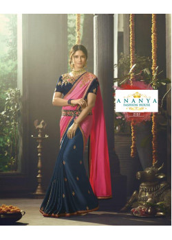 Enigmatic Dark Blue- Pink Crape- Chiffon Saree with Dark Blue Blouse