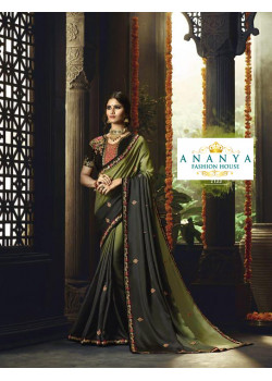 Exotic Olive Green- Black Barfi Saree with Black Blouse