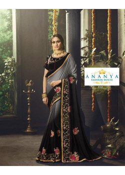 Flamboyant Black- Grey Rangoli Saree with Black Blouse