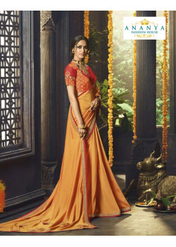 Magnificient Orange Silk Saree with Red- Orange Blouse