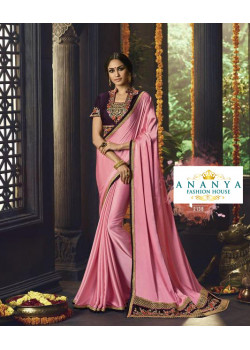 Melodic Pink Barfi Saree with Violet Blouse