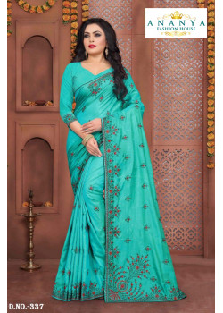 Exotic Light Blue Silk Saree with Light Blue Blouse