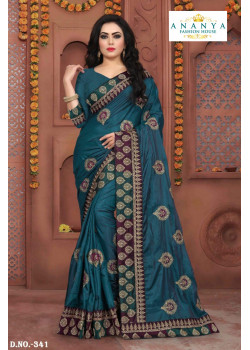 Enigmatic Blue Silk Saree with Blue Blouse