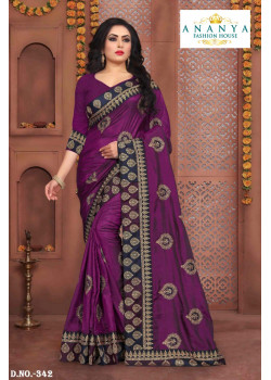 Melodic Violet Silk Saree with Violet Blouse
