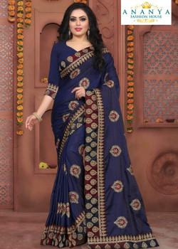 Classic Dark Blue Silk Saree with Dark Blue Blouse