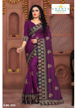 Charming Violet Silk Saree with Violet Blouse
