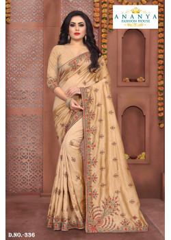 Gorgeous Beige Silk Saree with Beige Blouse