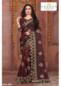 Plushy Brown Silk Saree with Brown Blouse