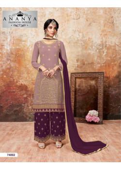 Charming Lavender Faux Georgette Salwar kameez