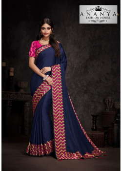 Melodic Dark Blue Silk Saree with Magenta Blouse