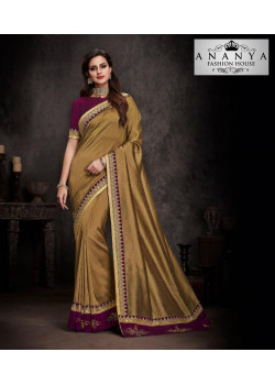 Flamboyant Gold Silk Saree with Purple Blouse