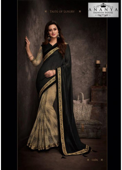 Luscious Black Silk Saree with Black Blouse