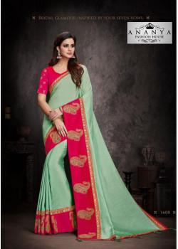 Melodic Magenta- Pastel Green Silk Saree with Magenta Blouse