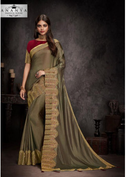 Divine Copper Silk Saree with Maroon Blouse