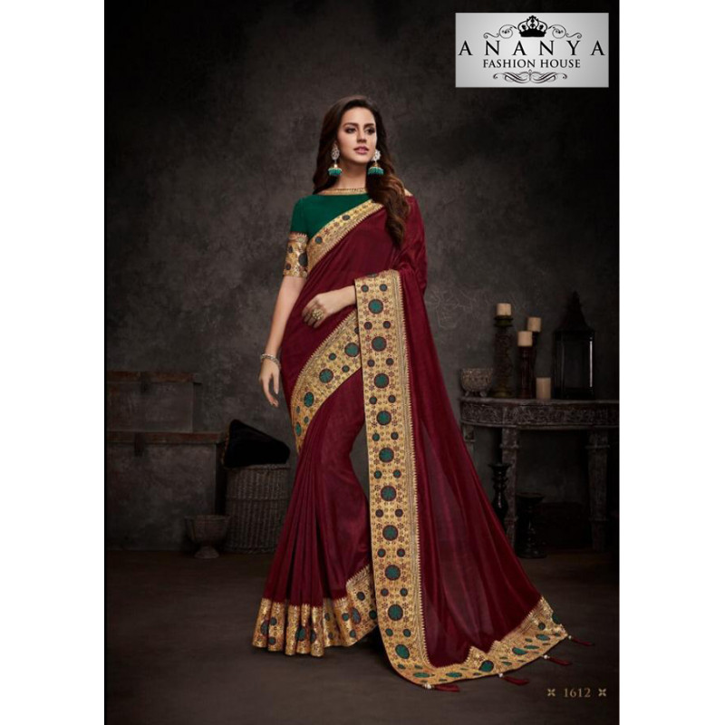 Gorgeous Maroon Silk Saree with Bottle Green Blouse