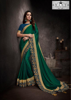 Enigmatic Bottle Green Silk Saree with Blue Blouse