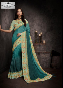 Adorable Blue Silk Saree with Pastel Blue Blouse