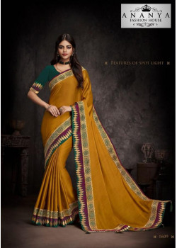 Charming Mustard Silk Saree with Dark Green Blouse