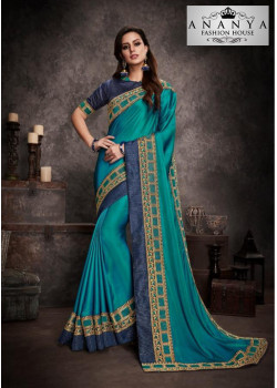 Dazzling Blue Silk Saree with Daqrk Blue Blouse