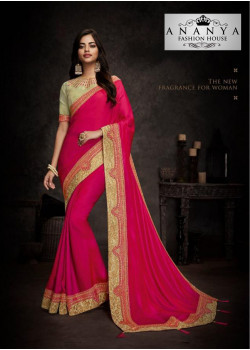 Enigmatic Magenta Silk Saree with Beige Blouse