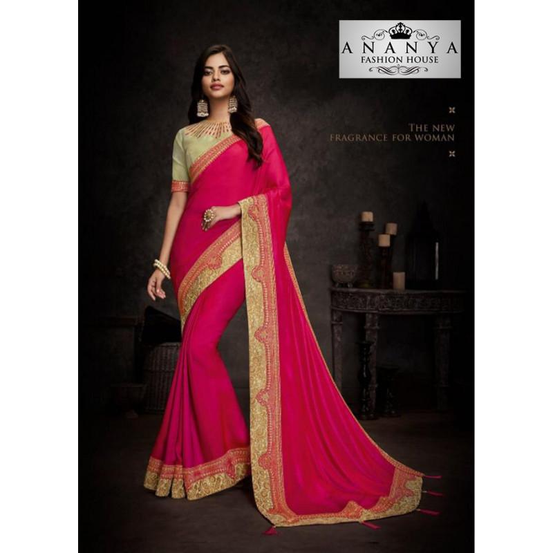 Enigmatic Magenta Silk Saree with Beige Blouse