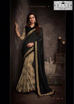 Luscious Black Silk Saree with Black Blouse
