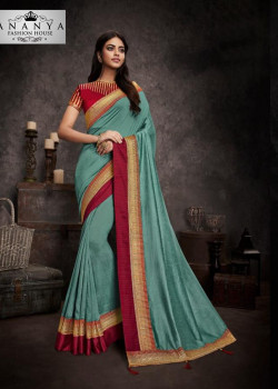 Melodic Light Blue Silk Saree with Maroon Blouse