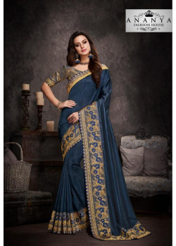 Plushy Blue Silk Saree with Grey Blouse