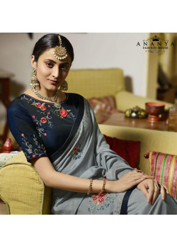Melodic Grey Silk Saree with Dark Blue Blouse