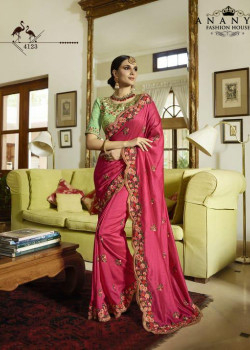 Classic Magenta Silk Saree with Pista Green Blouse