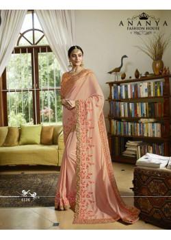 Luscious Peach Silk Saree with Peach Blouse