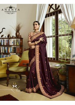 Adorable Wine Silk Saree with Dusty Pink Blouse