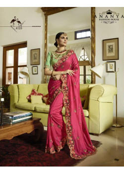 Classic Magenta Silk Saree with Pista Green Blouse