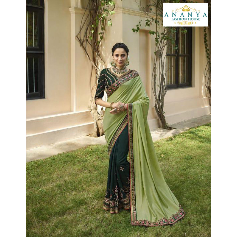 Enigmatic Pista Green- Bottle Green Silk Saree with Bottle Green Blouse