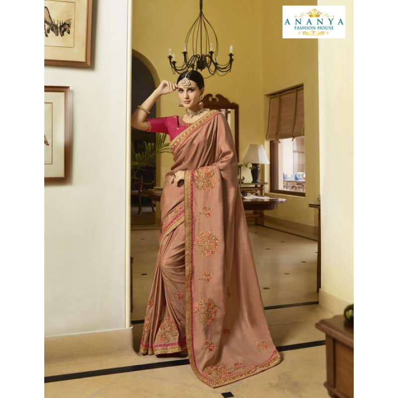 Melodic Dusty Pink Silk Saree with Magenta Blouse