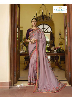 Trendy Lavender Silk Saree with Violet Blouse